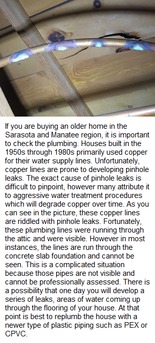 Pinhole Leaks in Copper Plumbing Sarasota Home Inspection